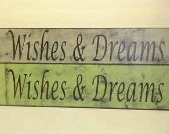WISHES & DREAMS SIGN / sweet dreams / wishes wall sign / hand painted sign / bedroom wall sign / kids room sign / wishes sign / wish dream