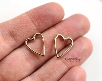 2pc gold plated heart charm / fine jewelry component / lead-free, nickel free / gold charms