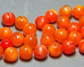 Vintage Blended Orange Round Glass Beads 8mm (10)