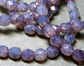 Czech Purple Opal Faceted Round Glass Beads 6mm (25) 022