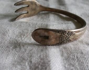 Silver plated antique fork bracelet  wish