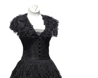 Black Mesh and Lace Evening Dress