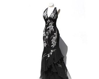 Black Halter chiffon Embroidery Beaded Dress