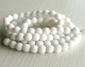 100 Opaque White 4mm Rounds - Czech Glass Beads