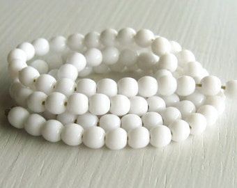 100 Opaque White 4mm Rounds - Czech Glass Beads