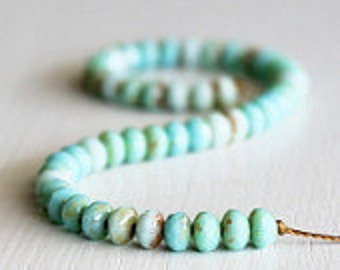 50 Seafoam/Turquoise Picasso Faceted 3x5mm Czech Glass Rondelles