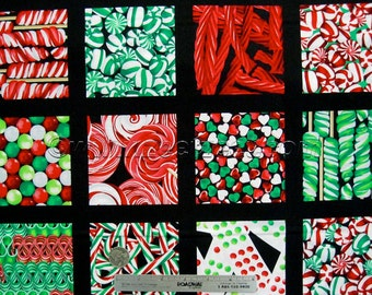 CHRISTMAS CANDY STORE Black Multi Cotton Quilt Fabric by the Half Yard Xmas I Spy Benartex Gumdrops Lollipops Last Piece