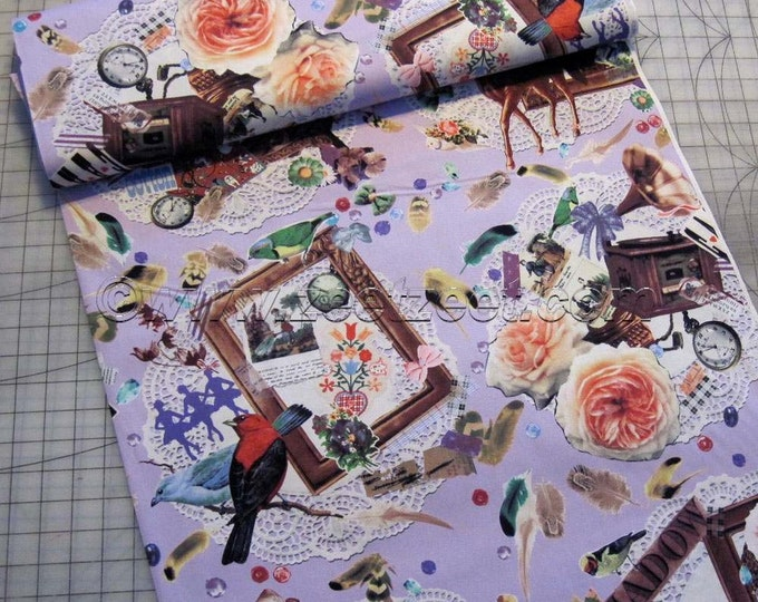 Sale Kokka HORSE COLLAGE, PURPLE Cotton Japanese Fabric - Home Dec Weight