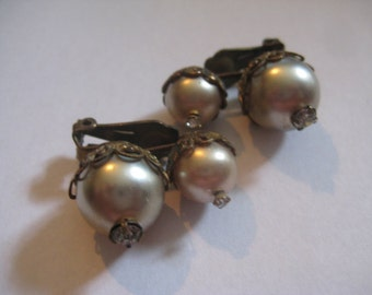 Vintage 30s Clipback Faux Pearl and Rhinestone Earrings