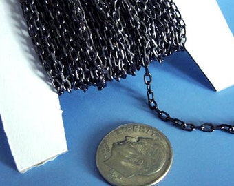 7 ft Gunmetal chain, Gunmetal Black plated brass chain, Oval open  link 4mmx2mm  CHN802