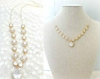 Gold Wedding Necklace, Gold Rhinestone Necklace, Wedding Jewelry, CZ Cubic Zirconia Bridal Necklace, Gold Bridal Jewelry, Vintage inspired