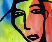 16 x 20 inch original Jeff Hughart folk outsider art pop punk painting - THE LOOKOUT
