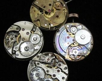 Vintage Antique Round Watch Movements Steampunk Altered Art Assemblage  N 36