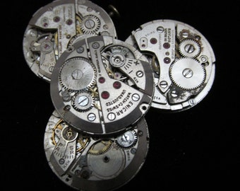 Vintage Antique Round Watch Movements Steampunk Altered Art Assemblage Q 40