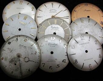 Vintage Antique Watch Dials Steampunk  Faces Parts Altered Art Industrial  L 51