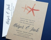 Harper Coral Watercolor Starfish Kraft Wedding Save the Date - Rustic Beach Wedding