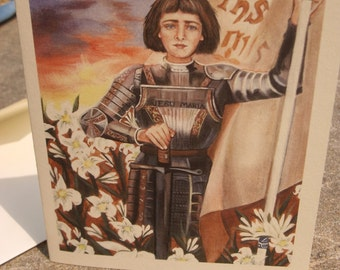 Saint Joan of Arc Stationary Card, 4.3/8 by 5.75 Envelope, Print from my Original Acrylic Painting on 80 lb card stock, White and Ivory