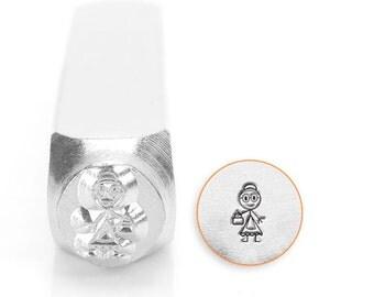 Grandma Stick Figure Design Stamp, Metal Stamp, 7mm, Carbon Steel Stamp, ImpressArt Design Stamp, SC159-N-7MM, stick figure, Grandma Stamps