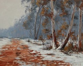 Winter Oil Painting Snow Gum Trees Landscape By Graham Gercken
