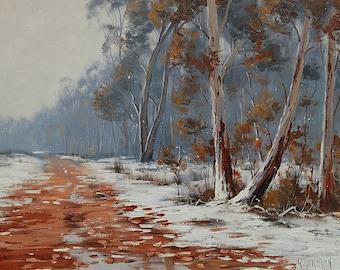 Winter Oil Painting Snow Gum Trees Landscape By Graham Gercken