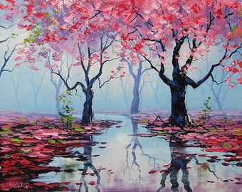 PINK WALL ART Decor Tree Paintings pink landscape Trees River painting by Graham gercken