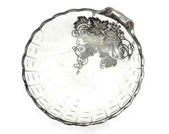 Silver Overlay Glass Shell Dish