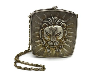 Harry Rosenfeld Lion Purse - Designer, Made in Italy, Metal Purse, 1970s, Handbag, Haute Couture