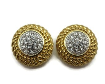 Swarovski Jewelry - Earrings, Gold with Clear Crystal, Pierced Earrings, Costume Jewelry