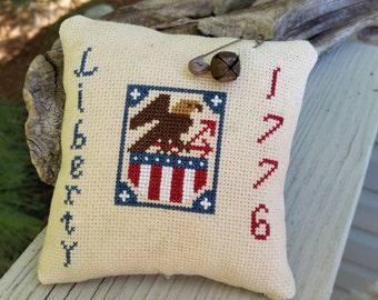 Eagle Liberty 1776 Americana Cross Stitch  Cupboard Tuck Mini Pillow Ready To Ship