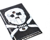 Free Shipping! Ready to Ship! Skull and Crossbones Handmade Enameled Light Switch Plate Cover Industrial Pop Art