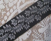 3 Yards Metallic Trim Jacquard Ribbon 1 3/8 Inches Wide Black And Silver  #073