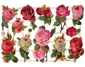Germany Paper Scraps Lithographed Die Cut Victorian Roses Flowers  7362