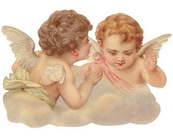 Germany Large Lithographed Die Cut Paper Scrap Victorian Angels  5159