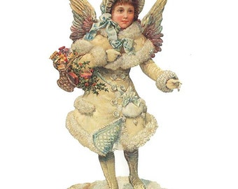 Victorian Angel Scrap Made In Germany Large Lithograph Die Cut Christmas Or Easter  5102