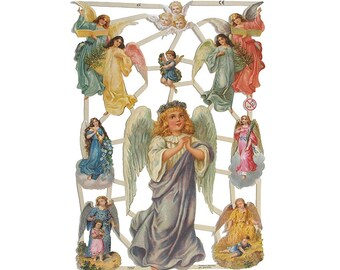 Made In Germany Paper Lithographed Die Cut Scraps Victorian Christmas Angels  7237