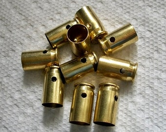Drilled shell casings bullet pendants, Lot of 10 Brass 380 auto casings Bullet Shell Casings drilled casings Pre-drilled bullets.....Lot 84