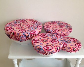 Reusable Bowl Picnic Eco-Friendly Pink Heart Peace Covers Fabric (Set of 4)