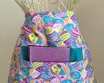 Vendor Teacher Waist Half iPad Apron Art Craft Spring Easter Egg Fabric (4 Pockets)