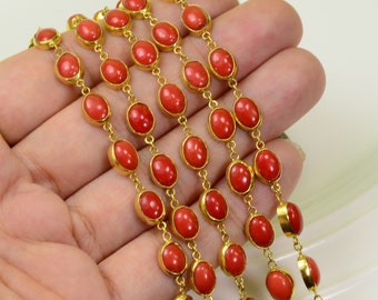 18k Solid Yellow Gold Sardinia Salmon Coral Bezel Gemstone Chain 6.5 INCH