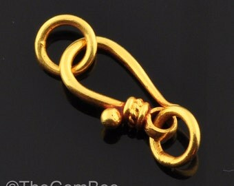 6.5mmx12mm 18k Solid Gold Old-Fashioned Hook Clasp