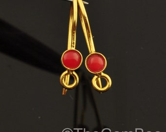 18k Solid Yellow Gold Earwires With Coral Bezel Pair