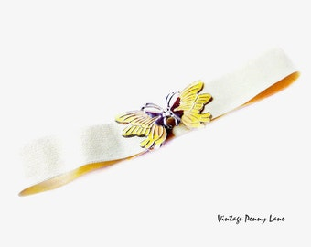 Stretchy Yellow Elastic Belt, Butterfly Buckle