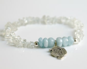 Aquamarine Healing Bracelet Lucy Fish Charm Bracelet Elastic Bracelet Stacking Bracelet Gemstone Bracelet Sterling Silver