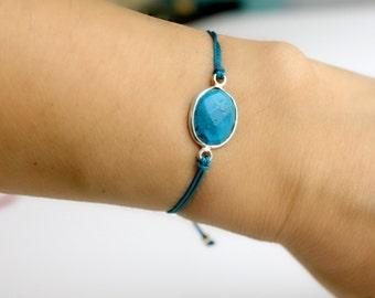 Turquoise Gemstone Bracelet Macrame Bracelet Friendship Bracelet Turquoise Cord Macrame Knot