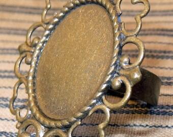 5 Filigree Adjustable Band Bezel RING Base Blanks Finding Settings Brass Steampunk Cabachon