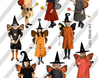 Collage Sheet,Vintage Halloween Sprite Witches with Spheres, 2 Sizes on 2 Sheets AND individual PNG files (Sheet no. H35) Instant Download