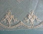 Antique Victorian 1890 Era  Handmade Needlework LaceTrim, 5 Yd Length, Floral w Chain Pattern, Wedding Lace, Lace Trim, Antique Lace Trim