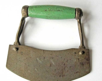 Antique 1920 Vintage  Iron with Jade Green Wooden Handle Kitchen Food Chopper, Nice Old Finish