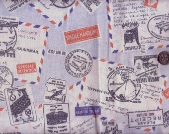 Half Yard Japanese Cotton Fabric Airmail Letters Stamps