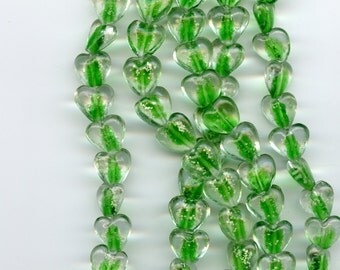 GLOW in the DARK  Green Heart Glass Beads 16mm  15 to a strand